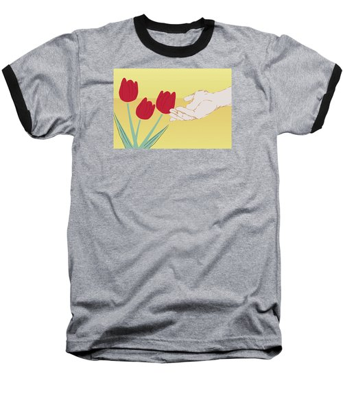 Baseball T-Shirt featuring the digital art The Tulips by Milena Ilieva