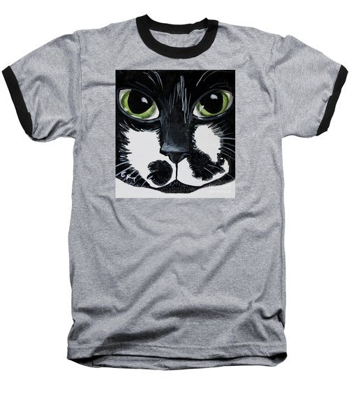 The Tuxedo Cat Baseball T-Shirt by Elizabeth Robinette Tyndall