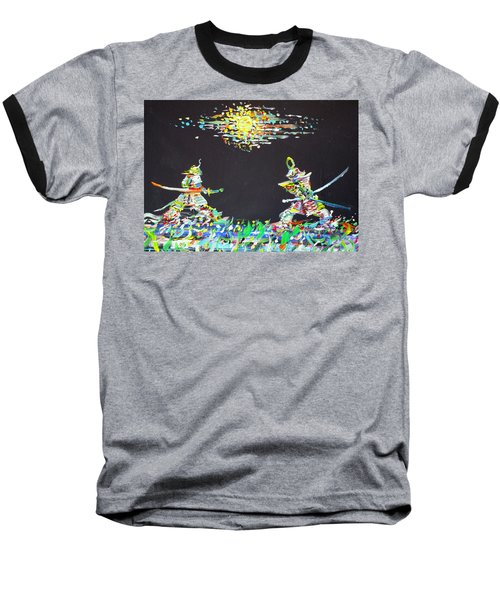 Baseball T-Shirt featuring the painting The Two Samurais by Fabrizio Cassetta