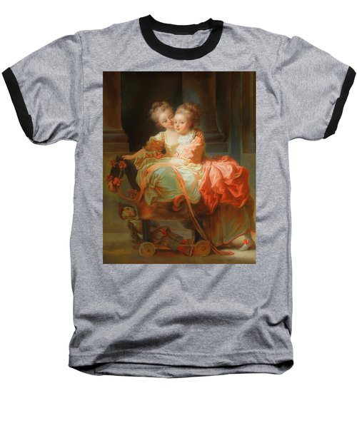 Baseball T-Shirt featuring the painting The Two Sisters                                   by Jean Claude Richard
