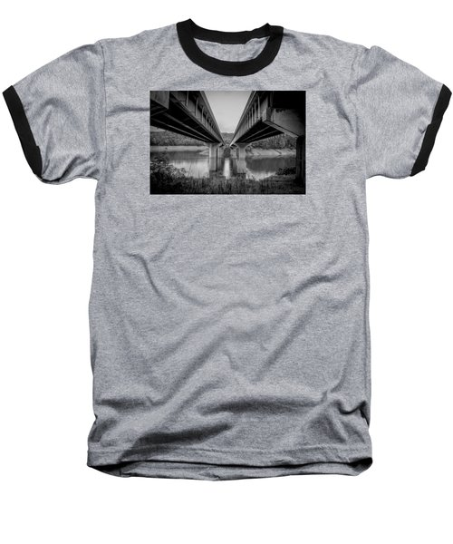The Underside Of Two Bridges Symmetry In Black And White Baseball T-Shirt by Kelly Hazel