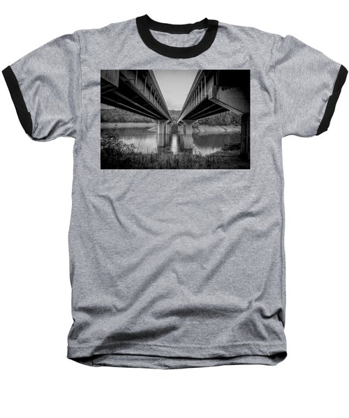 The Underside Of Two Bridges Symmetry In Black And White Baseball T-Shirt