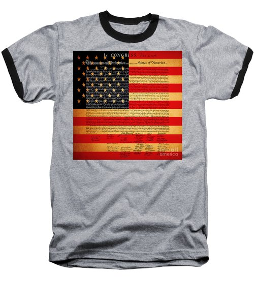 The United States Declaration Of Independence - American Flag - Square Baseball T-Shirt