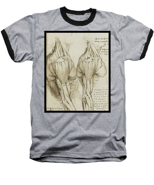 Baseball T-Shirt featuring the painting The Upper Arm Muscles by James Christopher Hill