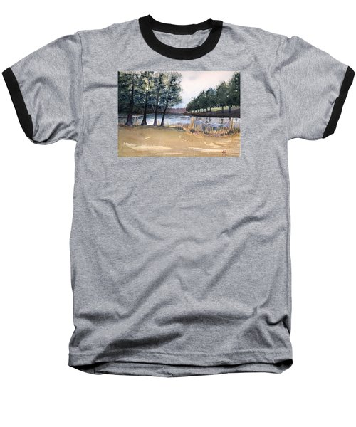 Baseball T-Shirt featuring the painting The View From Switchboard by Katherine Miller