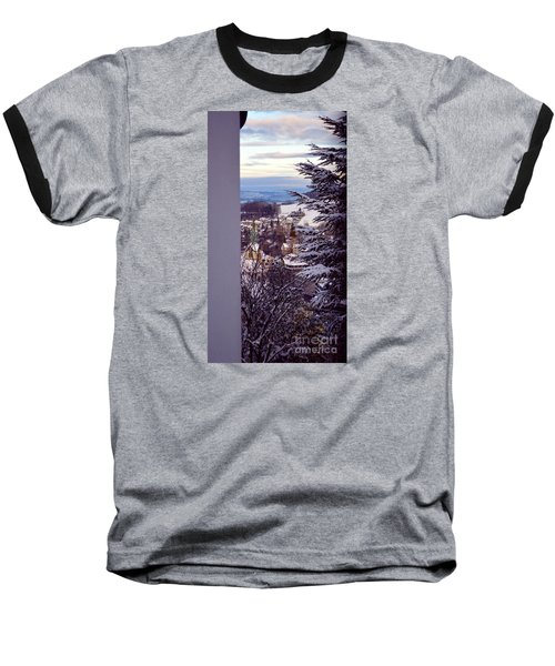 Baseball T-Shirt featuring the photograph The Village - Winter In Switzerland by Susanne Van Hulst