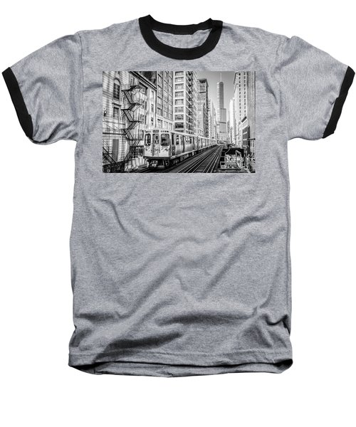 The Wabash L Train In Black And White Baseball T-Shirt