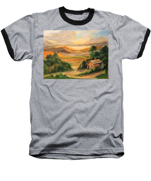 The Warmth Of Sunset Baseball T-Shirt by Remegio Onia