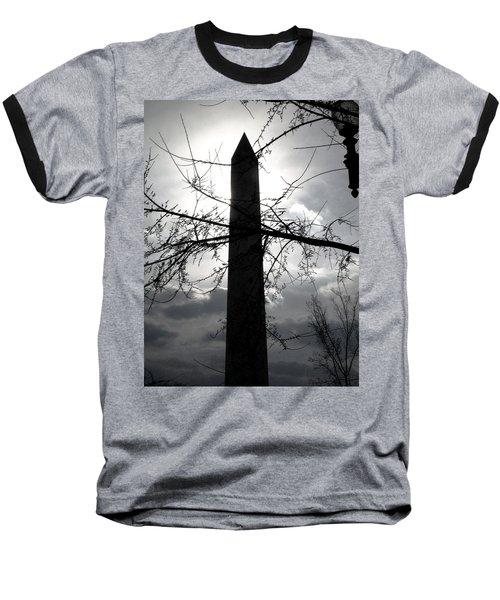 The Washington Monument - Black And White Baseball T-Shirt