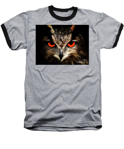 The Watcher - Owl Digital Painting Baseball T-Shirt