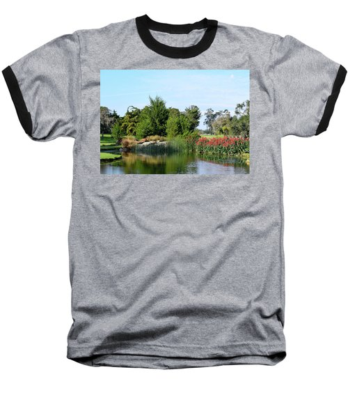 Baseball T-Shirt featuring the photograph The Water On Number One Santa Maria Country Club by Barbara Snyder