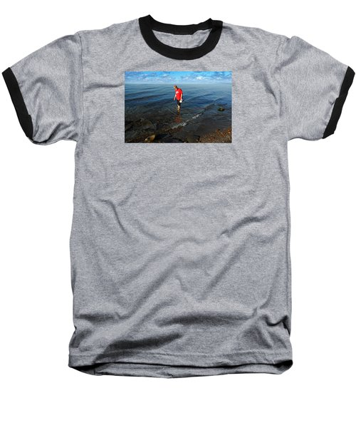 Baseball T-Shirt featuring the photograph The Water's Fine by Lena Wilhite