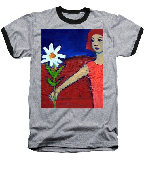Baseball T-Shirt featuring the painting The White Flower by Winsome Gunning