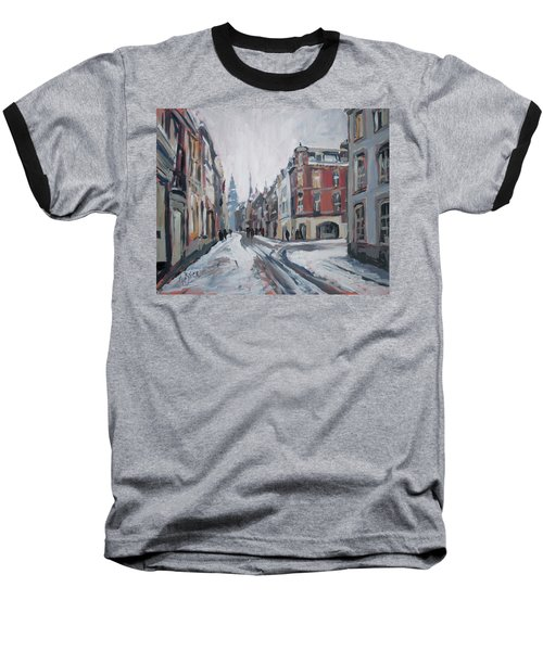 The White Grand Canal Street Maastricht Baseball T-Shirt by Nop Briex