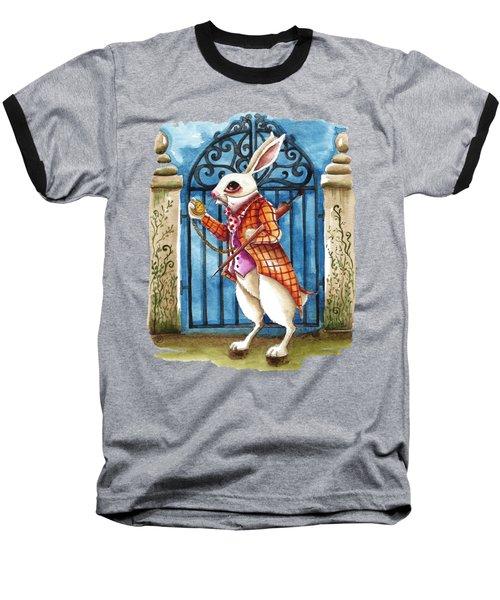 The White Rabbit Late Again Baseball T-Shirt