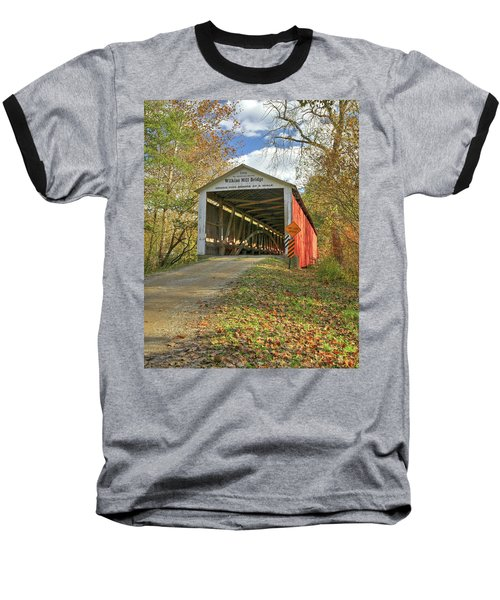 Baseball T-Shirt featuring the photograph The Wilkins Mill Covered Bridge by Harold Rau
