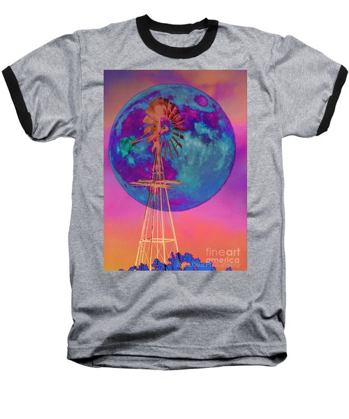 The Windmill And Moon In A Sherbet Sky Baseball T-Shirt by Toma Caul