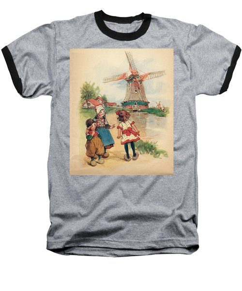 The Windmill And The Little Wooden Shoes Baseball T-Shirt by Reynold Jay