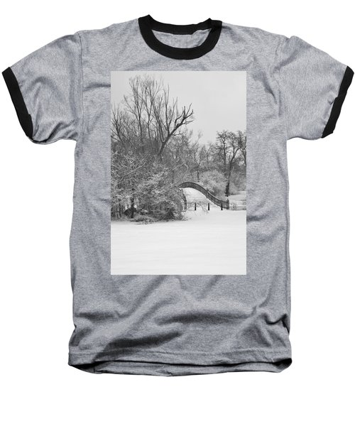 The Winter White Wedding Bridge Baseball T-Shirt by Daniel Thompson