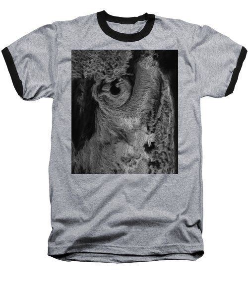 The Old Owl That Watches Blk Baseball T-Shirt by ISAW Gallery