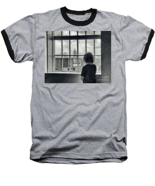 The World Outside My Window Baseball T-Shirt by Laurinda Bowling