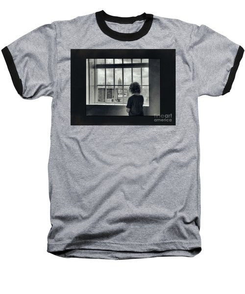 The World Outside My Window Number II  Baseball T-Shirt by Laurinda Bowling