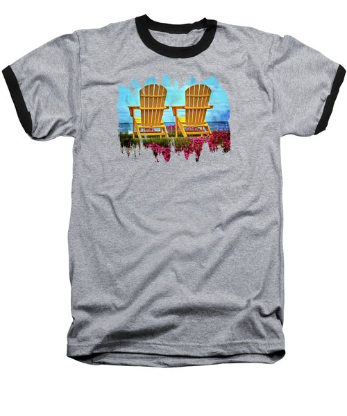 The Yellow Chairs By The Sea Baseball T-Shirt by Thom Zehrfeld