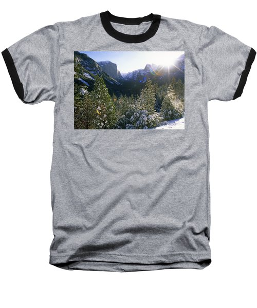 The Yosemite Valley In Winter Baseball T-Shirt