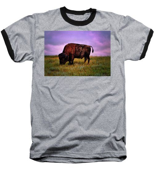 Baseball T-Shirt featuring the photograph Theodore Roosevelt National Park 008 - Buffalo by George Bostian