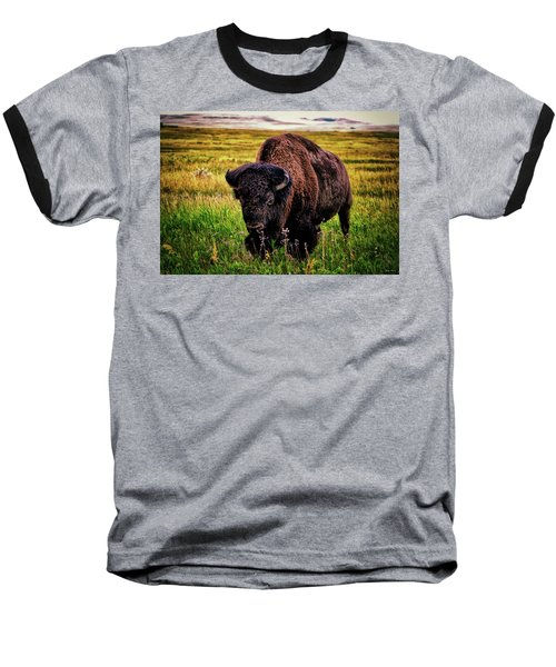 Baseball T-Shirt featuring the photograph Theodore Roosevelt National Park 009 - Buffalo by George Bostian