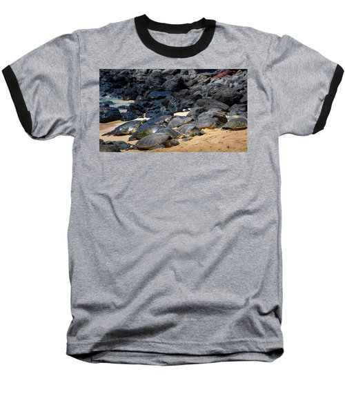 Baseball T-Shirt featuring the photograph There Has Got To Be More Room On This Beach  by Jim Thompson