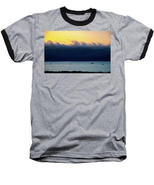 Baseball T-Shirt featuring the photograph Thick Fog Blankets Sunset by Joseph Hollingsworth