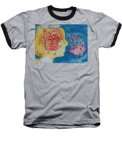 Baseball T-Shirt featuring the painting Thinking by Tilly Strauss