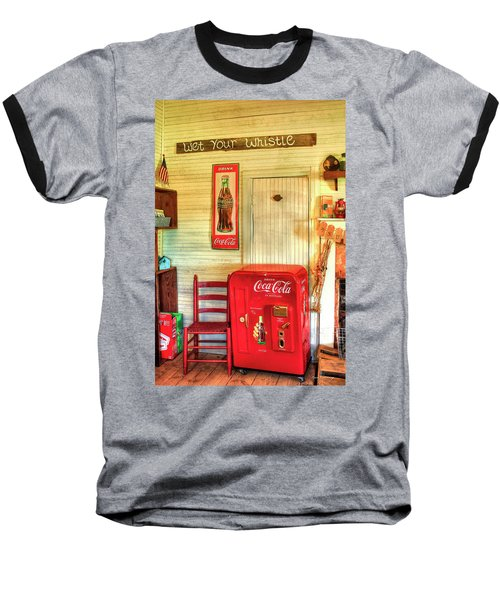 Thirst-quencher Old Coke Machine Baseball T-Shirt by Reid Callaway