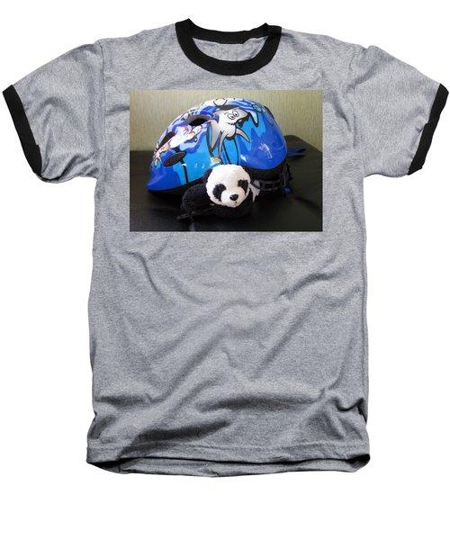 Baseball T-Shirt featuring the photograph This Helmet Is So Heavy Ugh by Ausra Huntington nee Paulauskaite