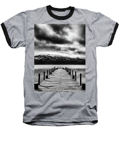 Landscape With Lake And Snowy Mountains In The Argentine Patagonia - Black And White Baseball T-Shirt