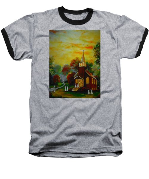 Baseball T-Shirt featuring the painting This Sunday by Emery Franklin