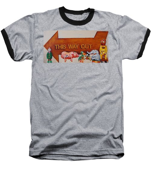 This Way Out Baseball T-Shirt by Jean Cormier