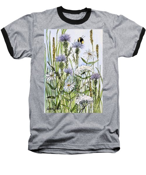 Thistles Daisies And Wildflowers Baseball T-Shirt by Laurie Rohner