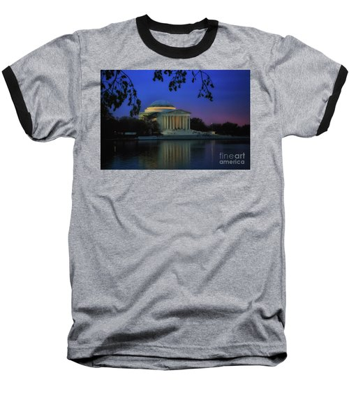 Thomas Jefferson Memorial Sunset Baseball T-Shirt by Elizabeth Dow