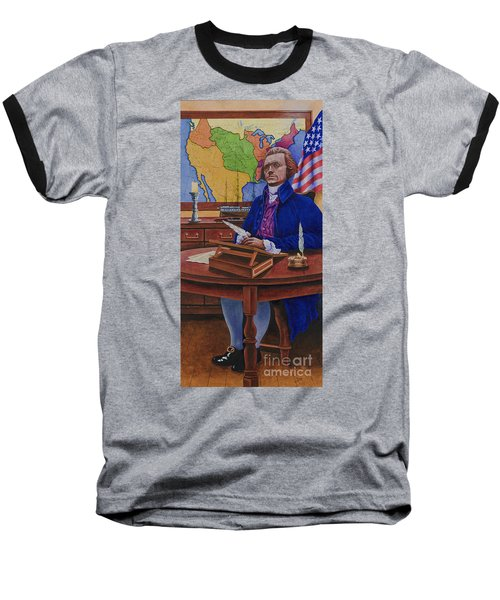 Thomas Jefferson Baseball T-Shirt by Michael Frank