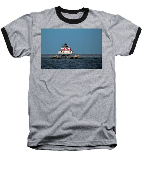 Thomas Point Shoal Light Baseball T-Shirt by Sally Weigand