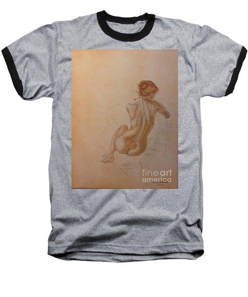 Thoughtful Nude Lady Baseball T-Shirt