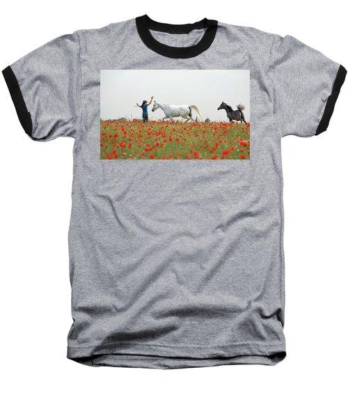 Three At The Poppies' Field Baseball T-Shirt