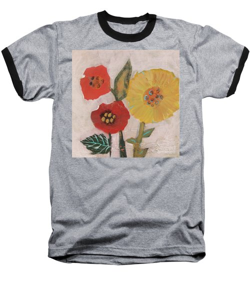 Baseball T-Shirt featuring the painting Three Awkward Flower Blossoms by Robin Maria Pedrero