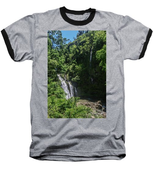 Three Bear Falls Or Upper Waikani Falls On The Road To Hana, Maui, Hawaii Baseball T-Shirt