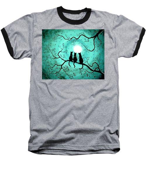 Three Black Cats Under A Full Moon Baseball T-Shirt by Laura Iverson