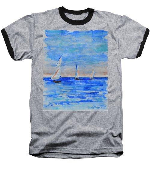 Three Boats Baseball T-Shirt by Jamie Frier