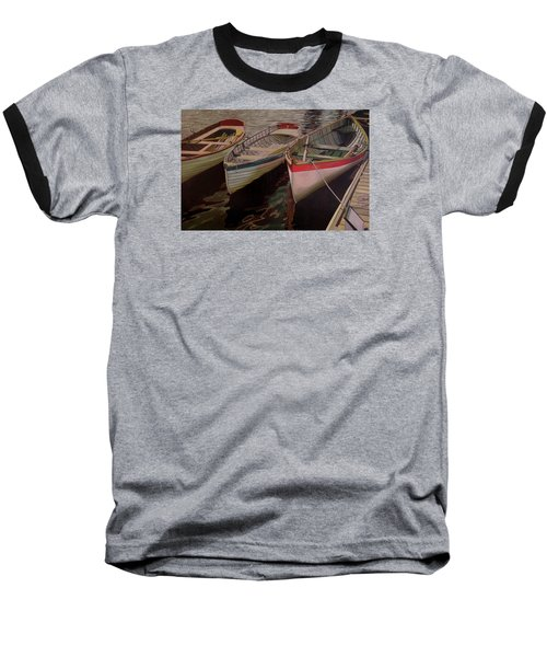 Baseball T-Shirt featuring the painting Three Boats by Thu Nguyen