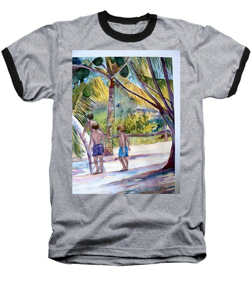 Three Boys Climbing Baseball T-Shirt